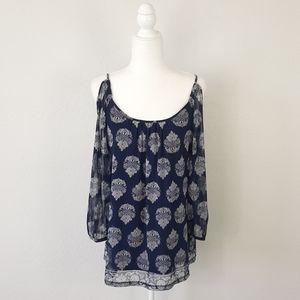 INC Blue White Cold Shoulder Lined Top Size XL